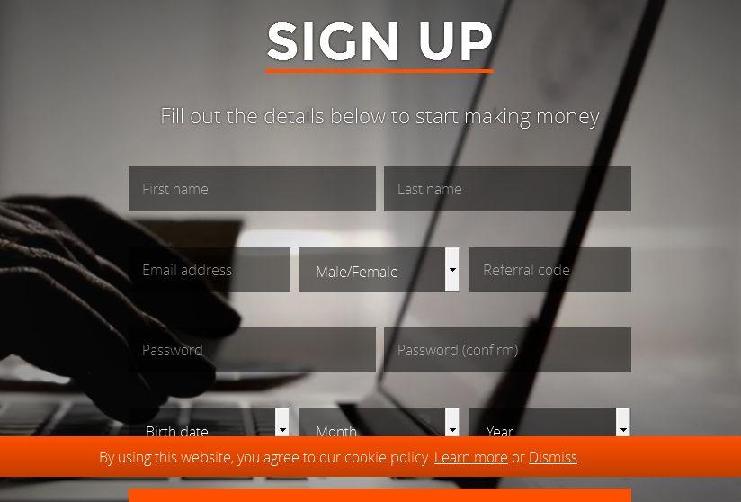 SlicethePie registration page