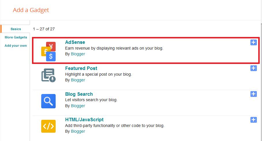 Adsense gadget blogger