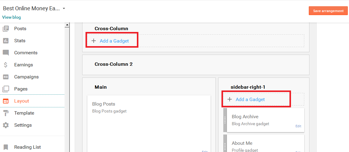 Add gadgets to Blogger