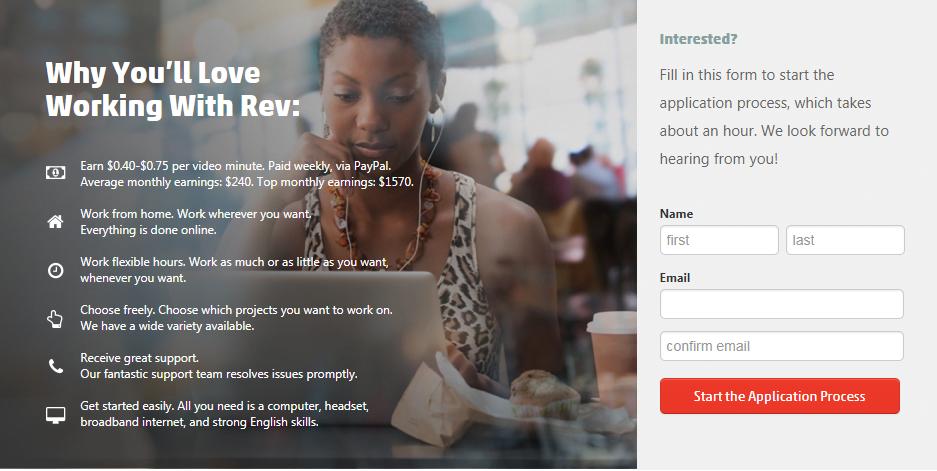 make money by transcribing & captioning rev.com