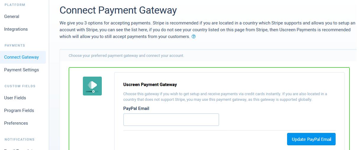 Uscreen payment gateways