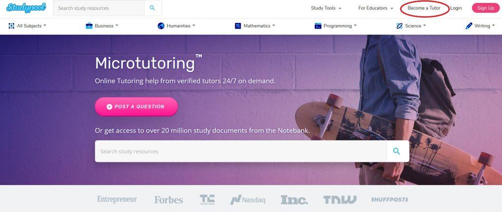 studypool become a tutor